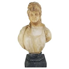 Antique European Carved Alabaster Bust of a Young Female Figure