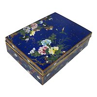 Antique Japanese Gilt Bronze Cloisonne Enamel Jewelry Box