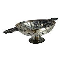 Antique .800 German Hanau Silver Reticulated Repousse' Bowl Courtyard & Angels
