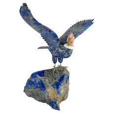 Vintage Carved Lapis Lazuli Stone Figure Condor Raptor