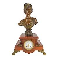 Antique Bronze and Marble Clock Emmanuel Villanis bust of Lygie