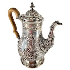 Antique English Georgian Sterling Silver Coffee Pot