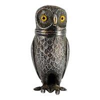 Antique Silverplate Owl Figure Salt or Pepper Shaker