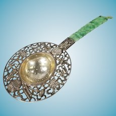 Chinese Silver Tea Strainer with Jadeite Jade Handle