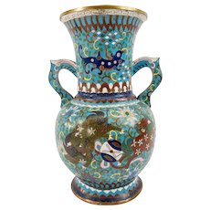 Antique Japanese Chinese Style Cloisonne Vase with Foo Dogs