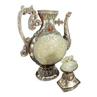 Antique Chinese Mongolian Silver and Nephrite Jade Ewer
