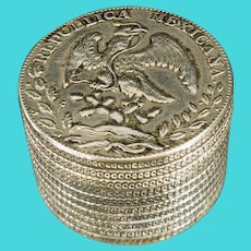 Antique Chinese Silver Export 8 Reales  Pieces of 8 Coin Box