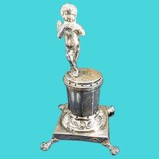Antique Spanish Colonial Silver Cherub Figural Pin Cushion Toothpick Holder