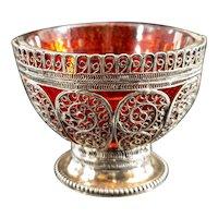 Antique Ottoman Sterling Silver Filigree Salt Cellar Tughra