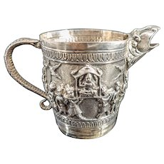 Antique Anglo Indian British Colonial Calcutta Silver Pitcher Creamer