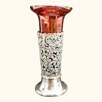 Antique English Sterling Silver Decorative Ruby Glass Insert Vase