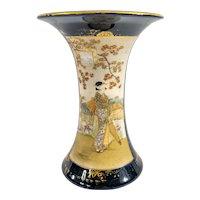 Antique Japanese Satsuma Blue Ground Flower Vase