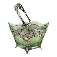 Antique Art Nouveau Swedish 830 Silver and Glass Bonbon Bowl Basket