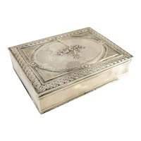 Antique French Sterling Silver Cigarette Box Table Snuff Floral