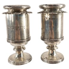 Antique Set of 2 Hamilton & Co Indian Colonial Silver Shakers