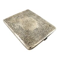 Antique Watrous Sterling Silver Engraved Cigarette Case