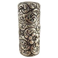 Antique Gorham Sterling Silver Repousse Vesta Case