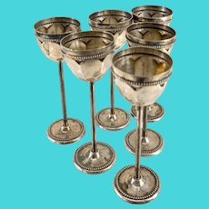 Antique 800 Silver German or Italian Cordial Glasses