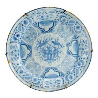 Antique Dutch Delft Faience Majolica Floral Plate