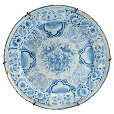 Antique Dutch Delft Faience Majolica Floral Plate