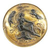 Antique Decorative Neoclassical Parcel Gilt Bronze Plaque