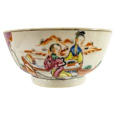 Antique Chinese Export Rose Mandarin Bowl