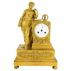 Antique French Ormolu Gilt Bronze Mantel Clock Blanc Fils Palais Royal