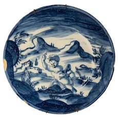 Antique Italian Savona Majolica Maiolica Blue and White Plate