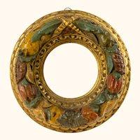 Antique Italian Carved Cornucopia Fruit and Gold Gilt Miniature Frame
