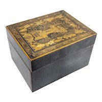 Antique Chinese Gilt and Silver Lacquer Card or Cigarette Box