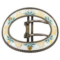 Antique Sterling Silver Enameled Belt Buckle