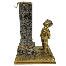 Antique Louis Kley Signed French Bronze and Marble Watch Holder