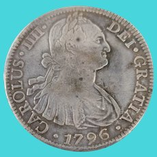 Antique Spanish Silver Pieces of 8 Reales Coin 1796