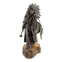 Massive Carl Kauba Bronze Indian Figure 'Amerika'