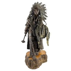 Massive Carl Kauba Bronze Indian Figure 'Amerika'