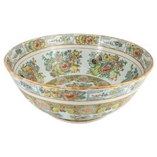Antique Chinese Export Rose Medallion Punch Bowl