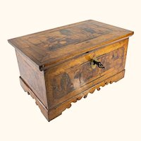 Antique Renaissance Style German or Italian Marquetry Fruitwood Strong Box