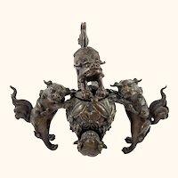Antique Japanese Bronze Incense Burner Censer with Foo Dogs