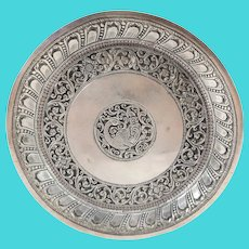 Antique Chinese Persian Silver Dish with Phoenix