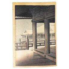 """Japanese Ukiyoe Woodblock by Kawase Hasui """"Snowfall at Kiyomizu Temple"""""""
