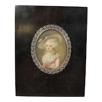 Antique French Silver Mounted Miniature Portrait of a Lady
