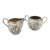 Sterling Silver Repousse Demitasse Creamer and Sugar by Kirk