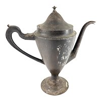 Antique English Jappanned Toleware Pinstripe Teapot