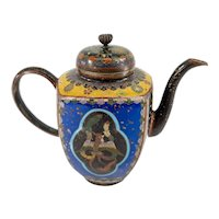 Antique Japanese Cloisonne Enamel Teapot with Dragon and Phoenix