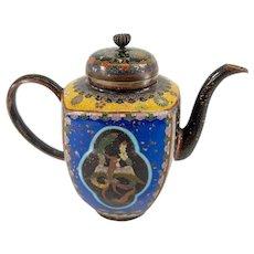 Antique Japanese Cloisonne Enamel Teapot with Dragon and Phoenix