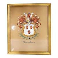 Fantastic Antique Tiffany & Co Gouache Family Crest Coat of Arms