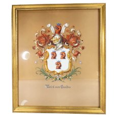 Fantastic Antique Tiffany & Co Gouache Family Crest Coat of Arms