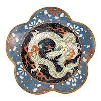 Antique Japanese Cloisonne Dragon Plate Dish