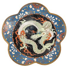 Antique Japanese Cloisonne Dragon Plate Dish