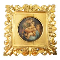 Antique Watercolor after Raphael's Madonna Sedia in Florentine Gilt Frame